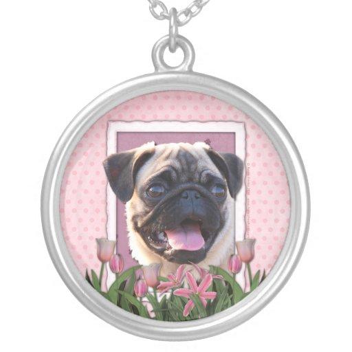 Thank You - Pink Tulips - Pug Pendants