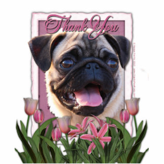 Thank You - Pink Tulips - Pug Standing Photo Sculpture