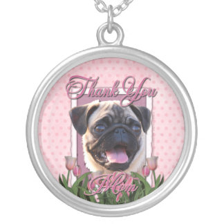 Thank You - Pink Tulips - Pug Round Pendant Necklace