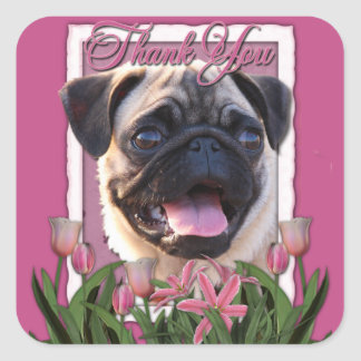 Thank You - Pink Tulips - Pug Square Sticker