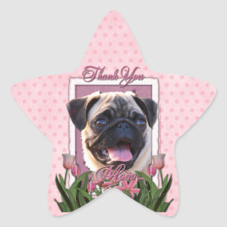 Thank You - Pink Tulips - Pug Star Sticker