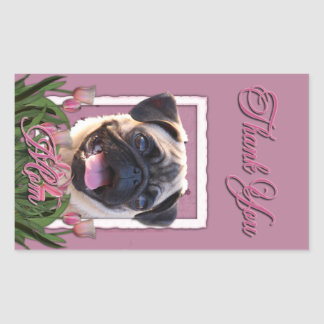Thank You - Pink Tulips - Pug Rectangle Stickers