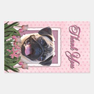 Thank You - Pink Tulips - Pug Rectangular Stickers