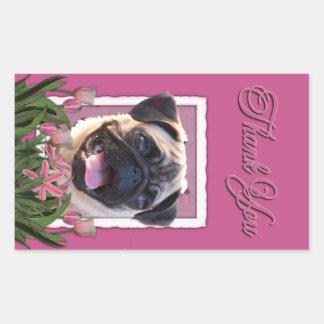 Thank You - Pink Tulips - Pug Rectangular Sticker