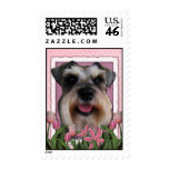 Thank You - Pink Tulips - Schnauzer Postage Stamps