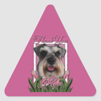 Thank You - Pink Tulips - Schnauzer Triangle Sticker