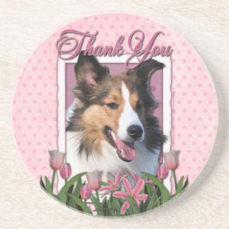 Thank You - Pink Tulips - Sheltie Drink Coaster