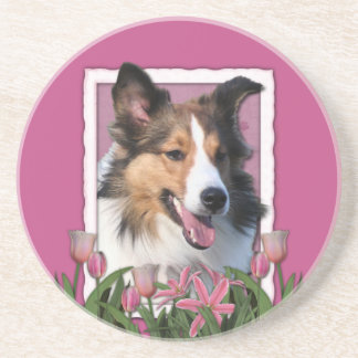 Thank You - Pink Tulips - Sheltie Beverage Coasters