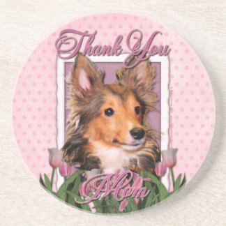 Thank You - Pink Tulips - Sheltie Puppy - Cooper Drink Coaster