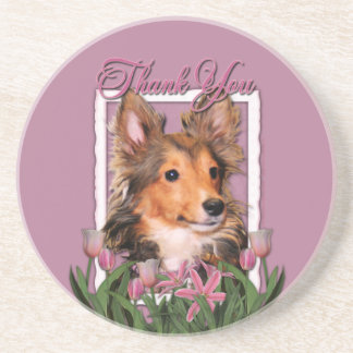 Thank You - Pink Tulips - Sheltie Puppy - Cooper Coasters