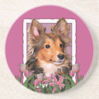 Thank You - Pink Tulips - Sheltie Puppy - Cooper Drink Coasters