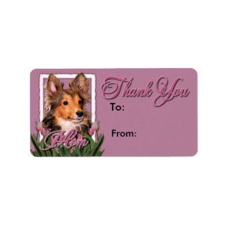 Thank You - Pink Tulips - Sheltie Puppy - Cooper Label
