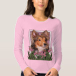 Thank You - Pink Tulips - Sheltie Puppy - Cooper T Shirts