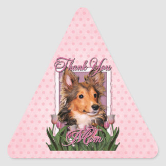 Thank You - Pink Tulips - Sheltie Puppy - Cooper Triangle Sticker