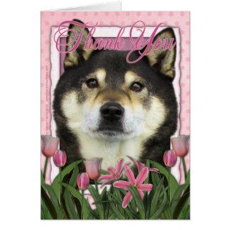 Thank You - Pink Tulips - Shiba Inus - Yasha Card