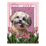 Thank You - Pink Tulips - ShihPoo - Maggie Postcard