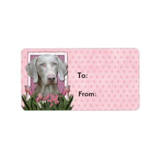Thank You - Pink Tulips - Weimeraner - Blue Eyes Label