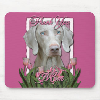 Thank You - Pink Tulips - Weimeraner - Blue Eyes Mouse Pad