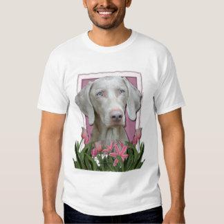 Thank You - Pink Tulips - Weimeraner - Blue Eyes T-Shirt