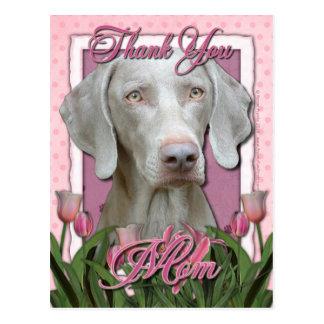 Thank You - Pink Tulips - Weimeraner - Golden Eyes Postcards