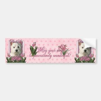 Thank You - Pink Tulips - West Highland Terrier Bumper Sticker