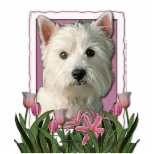 Thank You - Pink Tulips - West Highland Terrier Photo Cutout