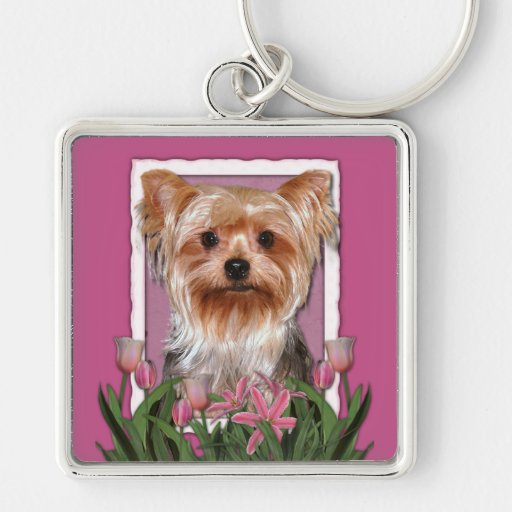 Thank You - Pink Tulips - Yorkshire Terrier Keychain