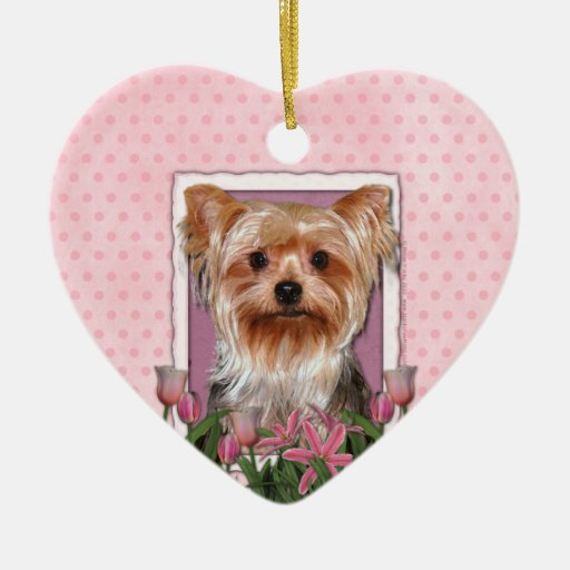 Thank You - Pink Tulips - Yorkshire Terrier Double-Sided Heart Ceramic Christmas Ornament
