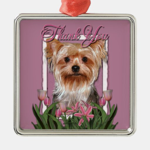 Thank You - Pink Tulips - Yorkshire Terrier Square Metal Christmas Ornament