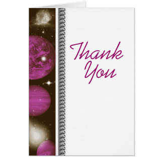 Thank you pink white space planetarium planet card