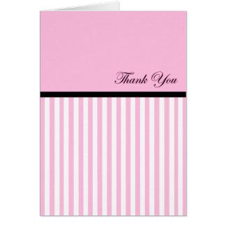 Thank You pink & white Stripe Card