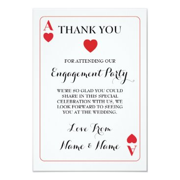 Valentines Themed Thank You Playing Cards Ace Of Hearts Red