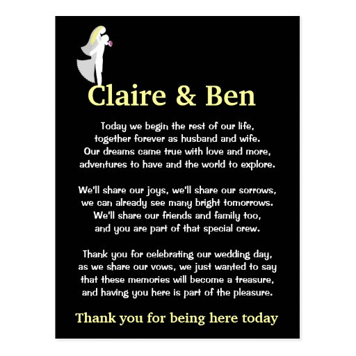 Wedding Thank You Ideas For Guests : Thank you poem for wedding day guests postcard Zazzle