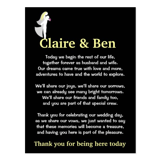Wedding Day Poems For Bride: Thank You Poem For Wedding Day Guests Postcard