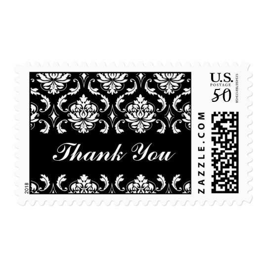 Thank You Postage Black White Damask