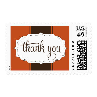 Thank You Postage in Orange and Brown