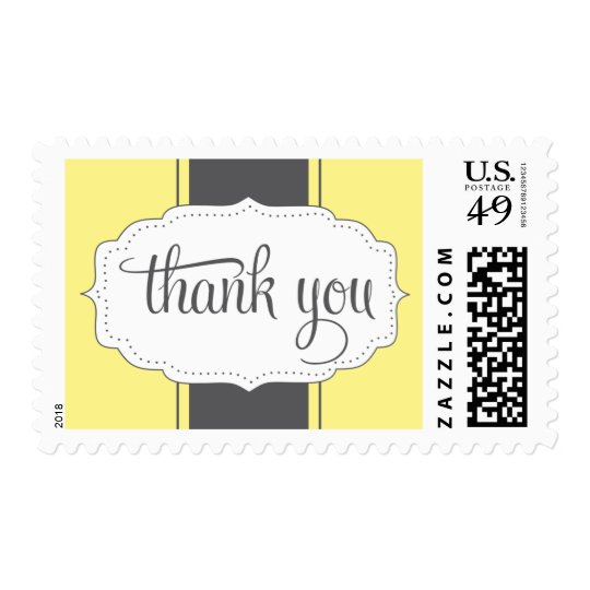 Thank You Postage in Yellow and Gray