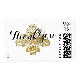 Thank You Postage Stamp Faux Gold Leaf Damask
