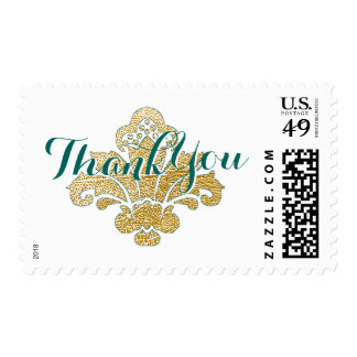 Thank You Postage Stamp Faux Gold Leaf Damask Teal