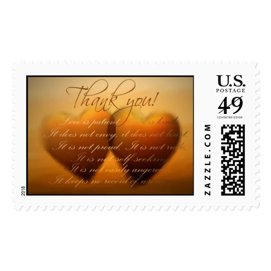 Thank You Postage with two hearts!