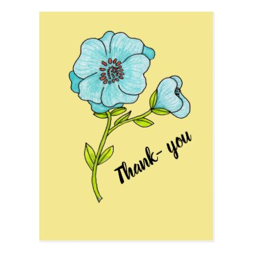 Thank you Postcard Blue Flower on Yellow