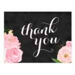 thank you postcard | chalkboard pink floral