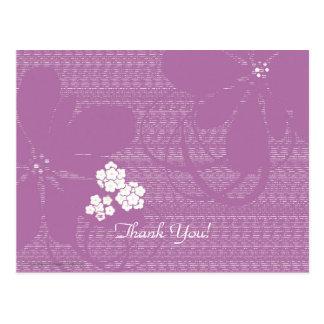 Thank You Postcard, Pale Purple Floral Postcard