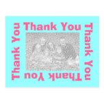 Thank You Postcard - Pink and Aqua