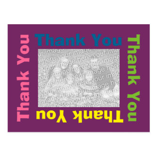 Thank You Postcard - Purple Multi Color Frame