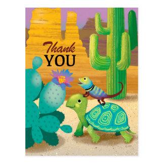 Thank You Postcard Turtle lizard cactus