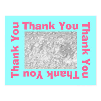 Thank You Postcard with photo - Pink and Aqua