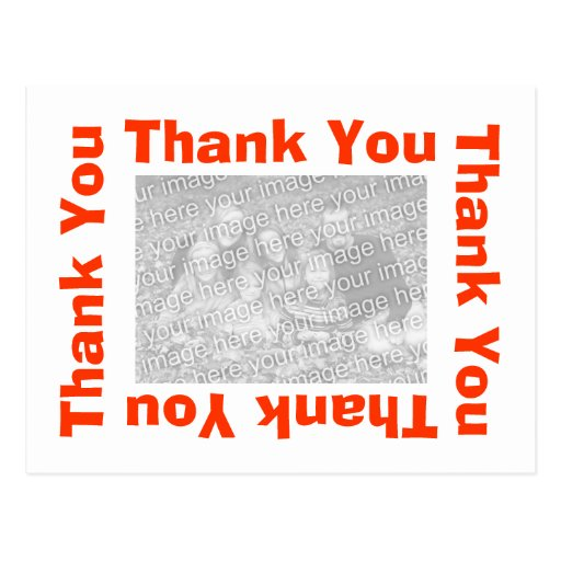 Thank You Postcard with photo - White and Orange