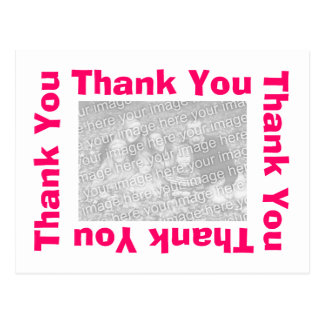 Thank You Postcard with photo - White and  Pink