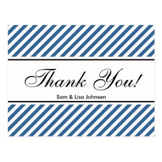 Thank you postcards  | blue stripe pattern